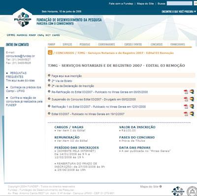 Versão anterior do site